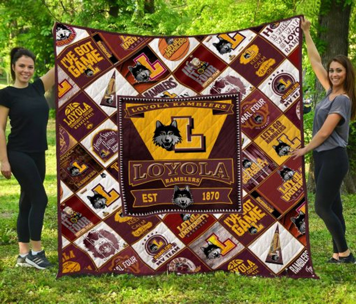 NCAA Loyola (Chi) Ramblers 3D Customized Personalized Quilt Blanket #1642 Design By Dalabshop.com