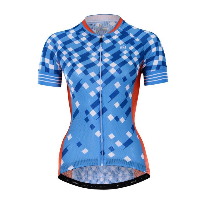 Women's RIDER Blue Checks S/S Jersey