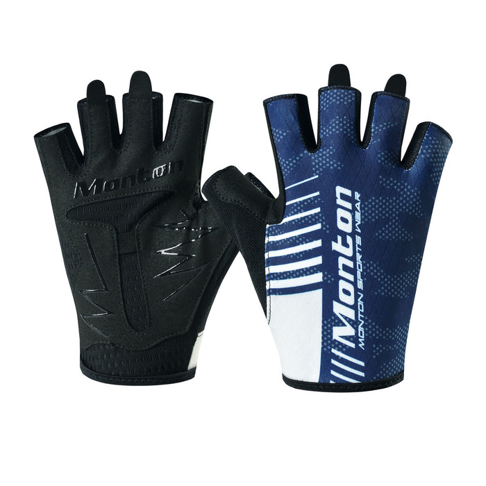 Carter Half Finger Cycling Gloves - blue