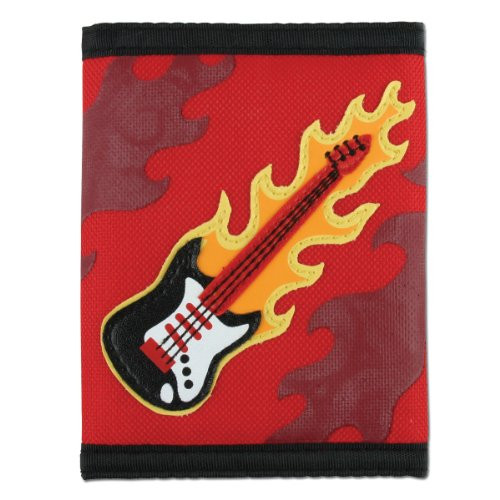 Flaming Guitar Velcro Wallet