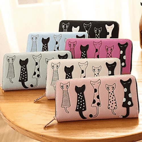 Long Wallet with Cats: Various Colors