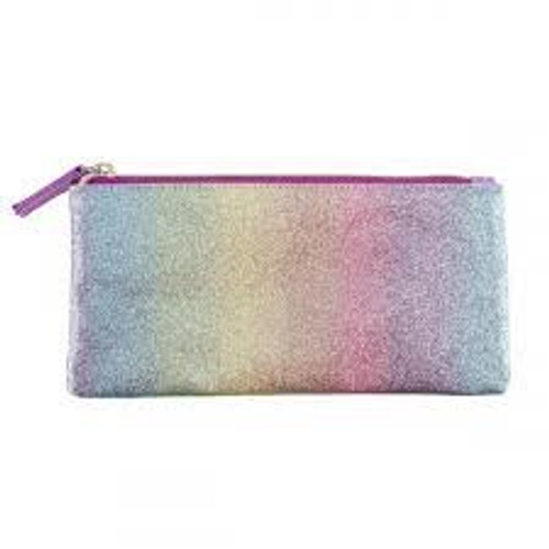 Pink Striped Glitter Pencil Case