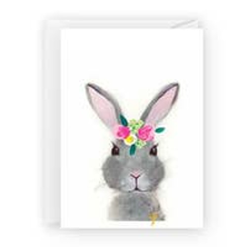 Bunny with Flowers Card