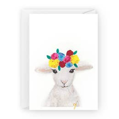 Lamb with Flowers Card