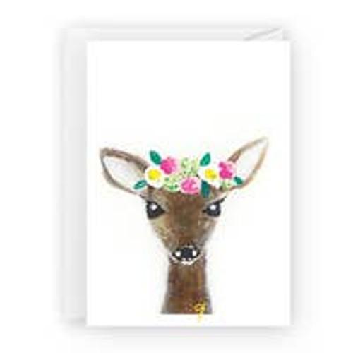 Deer with Flowers Card