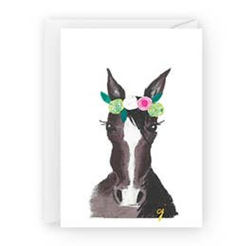 Horse with Flowers Card