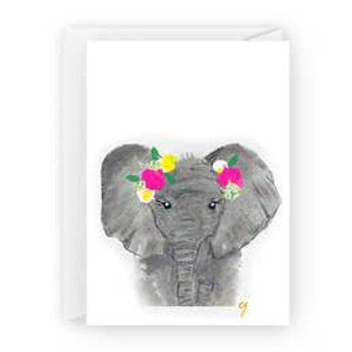 Elephant with Flowers Card