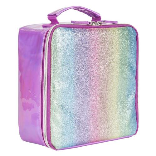 Pink Striped Glitter Lunch Box