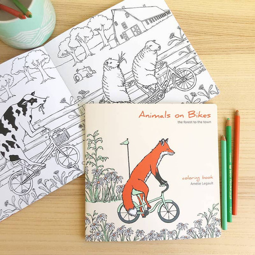 Animals on Bikes Forest to Town Coloring Book