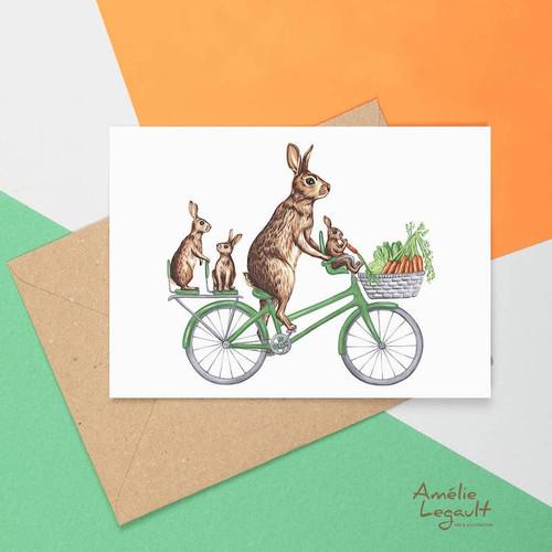 Rabbit Family Riding Bicycle