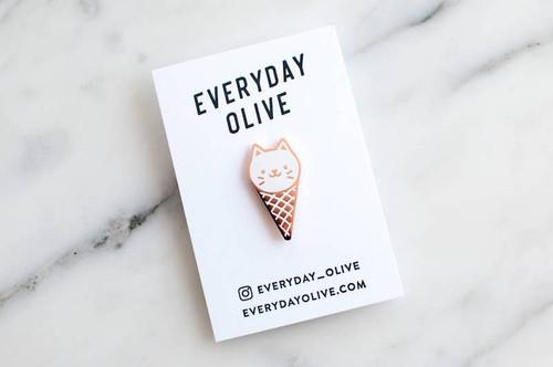 Ice Cream Cat Pin