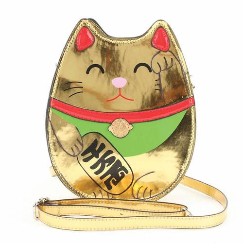 Golden Lucky Cat Crossbody Bag