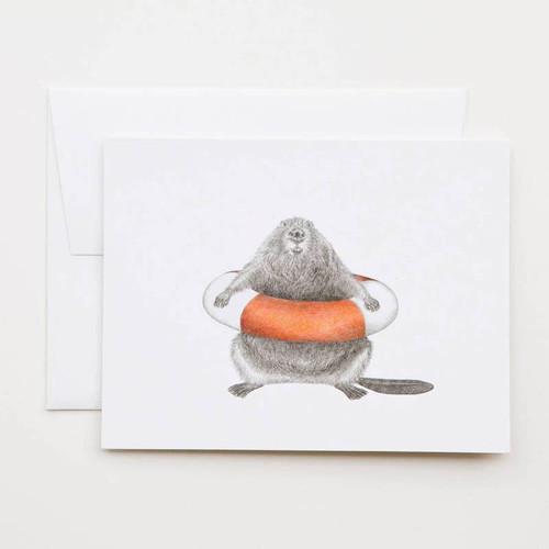 Beaver with Swim Ring  Card