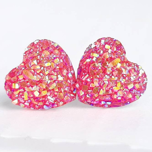 Druzy Heart Earrings