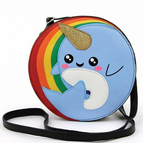 Narwhal in Rainbow Crossbody Bag
