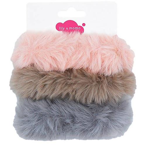 Furry Scrunchies: Pink & Gray