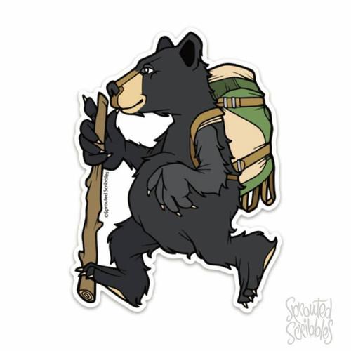 Bear Backpacking Vinyl Sticker