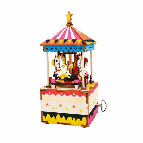 3D Wooden Puzzle Music Box: Merry-Go-Round