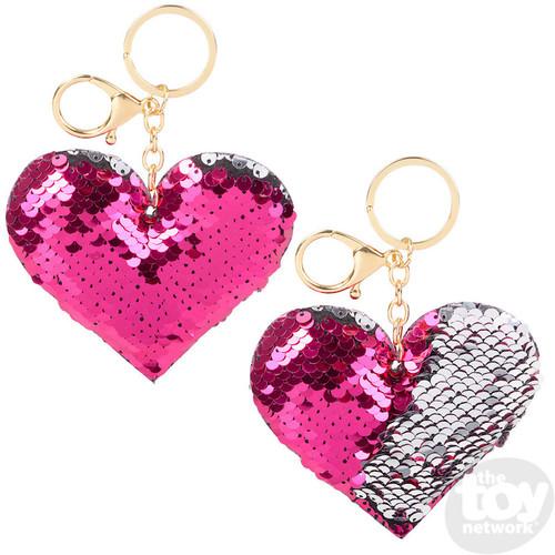 Flip Sequin Heart Keychain