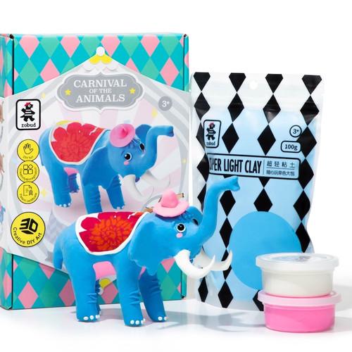 Elephant Wood & Clay Model