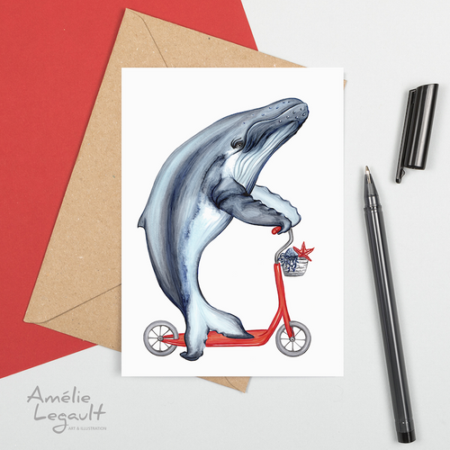 Whale on Scooter Greeting Card