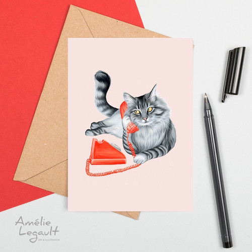 Cat on the Phone Greeting Card