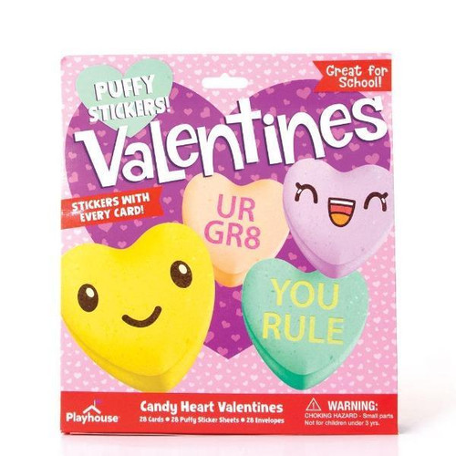 Candy Heart Puffy Sticker Valentine Card Kit