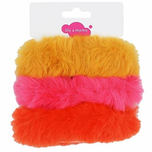 Furry Scrunchies: Hot Pink & Orange
