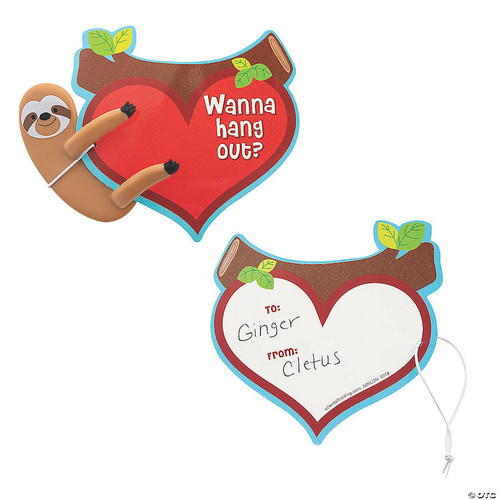 Bendable Sloth Valentine Card