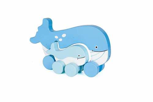 Whale Mama & Baby Wooden Roller