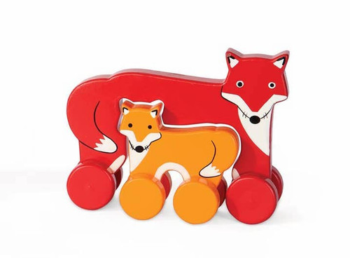 Fox Mama & Baby Wooden Roller