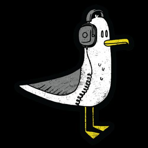 Seagull with Headphones Vinyl Sticker