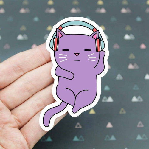 Cat with Headphones Vinyl Sticker