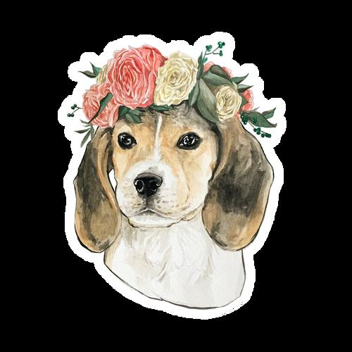 Beagle with Flower Crown Vinyl Sticker