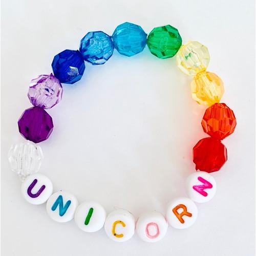 Unicorn Rainbow Beaded Bracelet