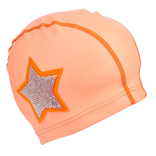 Swim Cap: Coral Rhinestone Star
