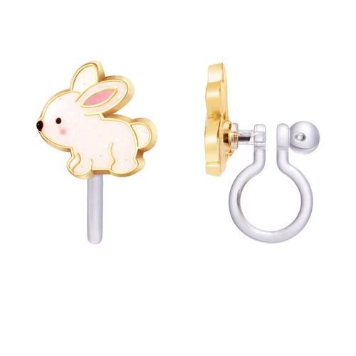 Glitter Rabbit Clip On Earrings