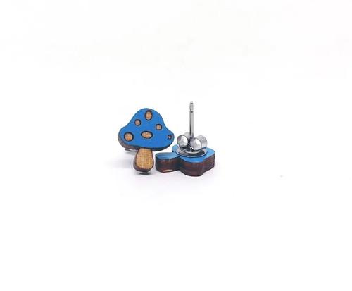 Blue Mushroom Earrings