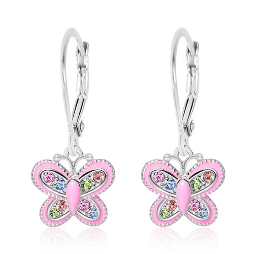 Pink Butterfly Dangle Earrings