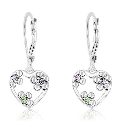 Flower Crystal Heart Dangle Earrings