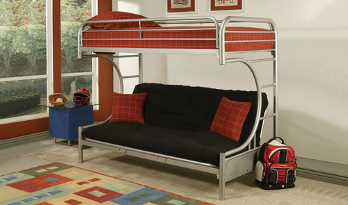 Bunkbed With Single Bed On Top and Futon At Bottom