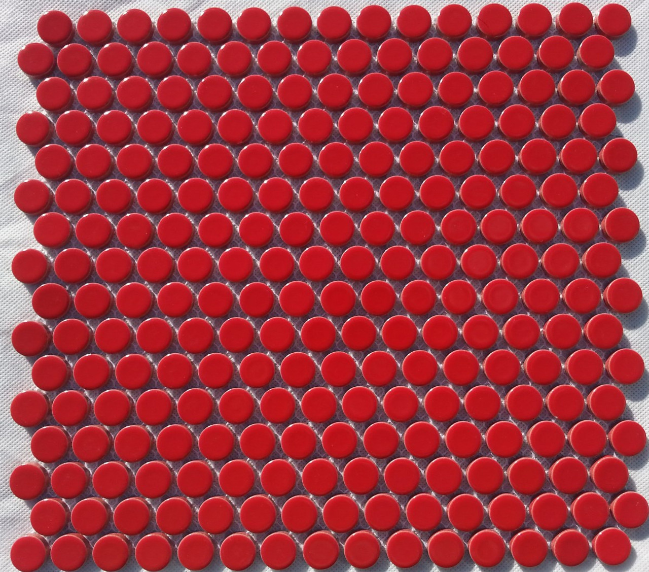 Pg11 Gloss Red Penny Round Mosaic Tiles Exotiles