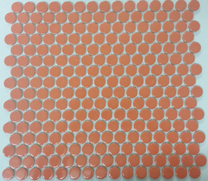 Orange penny round mosaic tiles