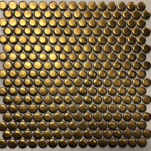 gold penny round mosaic tiles