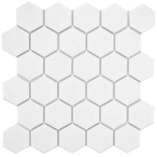 Matte white hexagon mosaic tiles