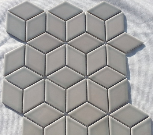 Grey gloss cube mosaic tiles
