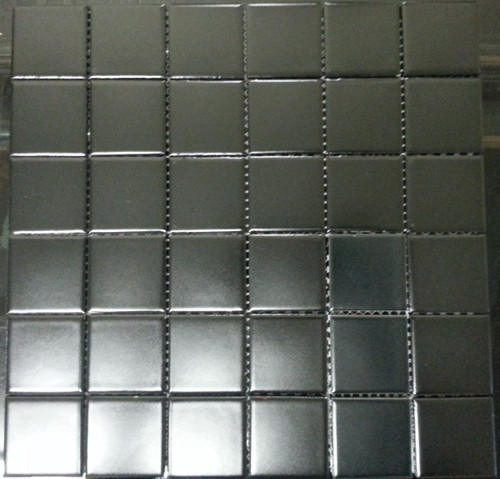 Matte black square mosaic tiles