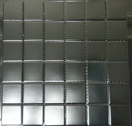 Matte black square mosaic tiles