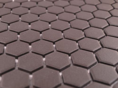 Unglazed black mosaic tiles