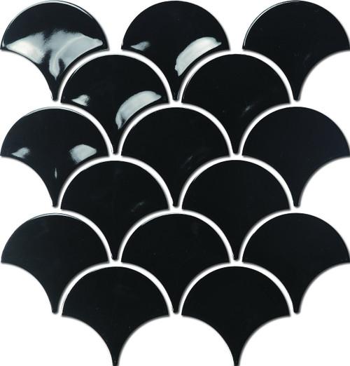 Gloss Black Fish Scale Mosaic Tiles